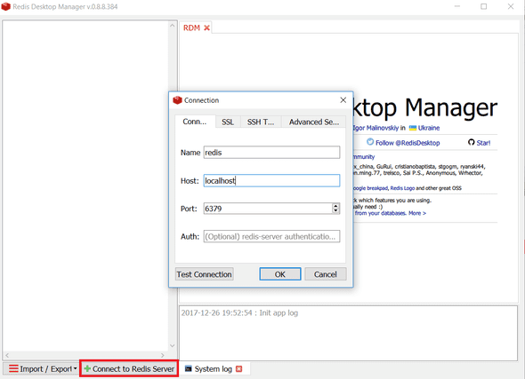 Redis Deskop Manager Connection